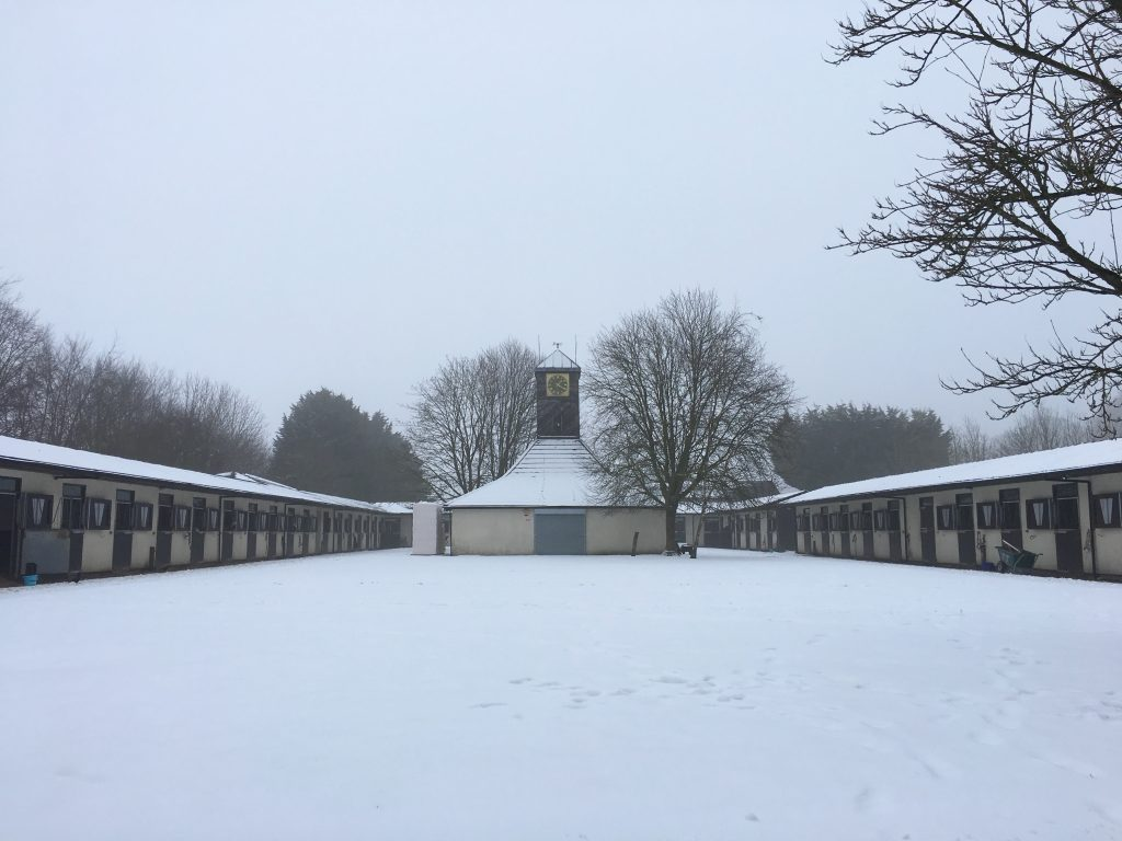 snow at stables racing yard royston